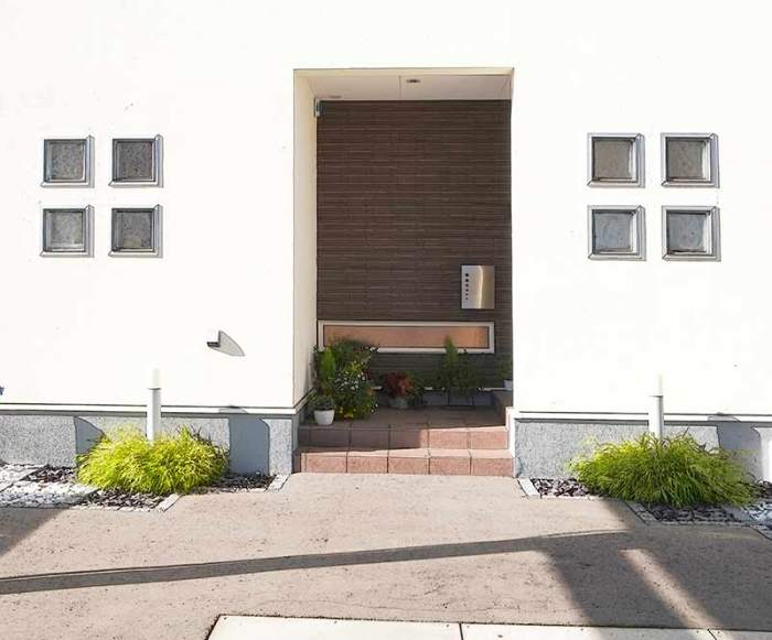 玄関脇に植栽とライトによるアクセント。舗装はアスファルト 植栽:風知草